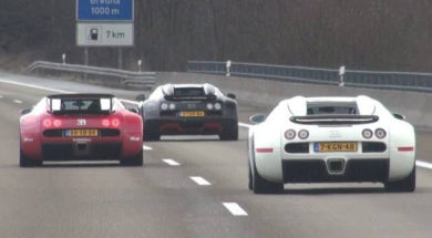 3 Bugatti's Together on the Highway!
