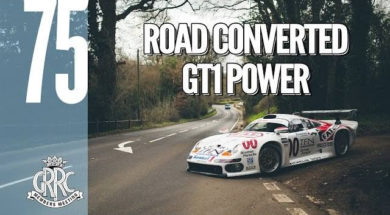 En route pour Goodwood en Porsche 911 GT1 street version
