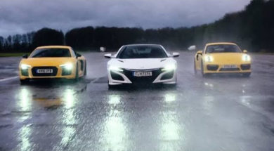 Chris Harris – Top Gear : comparatif 4 roues motrices, Honda NSX / Audi R8 V10 / Porsche 911 Turbo
