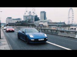 Insolite l'or se barre dans les rues de Londres en Porsche Panamera Turbo Sport Turismo