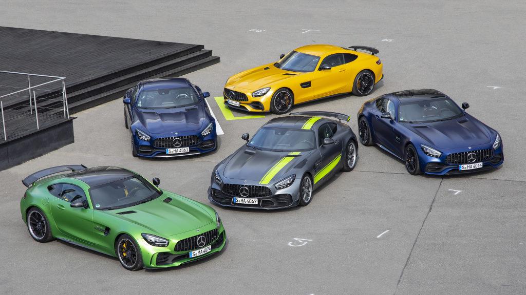Mercedes-AMG GT et AMG GT R PRO, photo de famille sur l'Hockenheimring 2019
