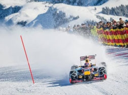 Max Verstappen drives F1 car in snow