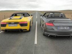 Match R8 V10 Spyder – TT RS Roadster : Audi fait le printemps par Auto-Moto Magazine