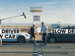 Duel le retour : un pilote dans une voiture lente / Monsieur Tout-le-Monde dans une voiture rapide