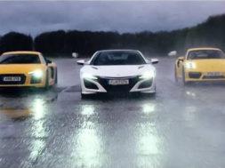 Chris Harris – Top Gear : comparatif 4 roues motrices, Honda NSX / Audi R8 V10 / Porsche 911 Turbo