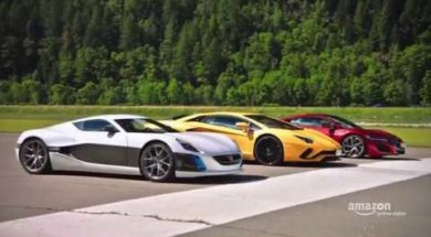 The Grand Tour Lamborghini Aventador, Honda NSX et Rimac Concept One